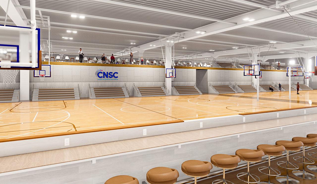 rendering of stools overlooking basketball court